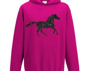 Glitter Horse Hoodie for Girls