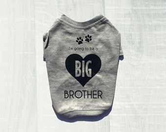 Going To Be A Big Brother Dog Tee for Pugs. Grey Soon To Be Dog Big Brother T-Shirt for Expecting Mothers. Baby Announcement. Gender Reveal.