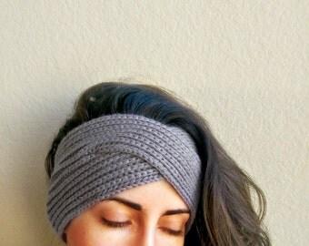 Turban Ear Warmer Headband, Knit Boho Ear Warmers, Handmade Turban Headband Ear Warmer, Soft Knitted Ear Warmer, Knit Turban Style Headband