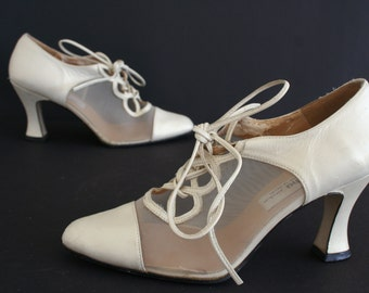Ivory and Mesh Leather Lace Up Heels, Sacha London Off White Vintage Bridal Shoes, See Through Clear Mesh Womens Shoes Size 5 1/2 B