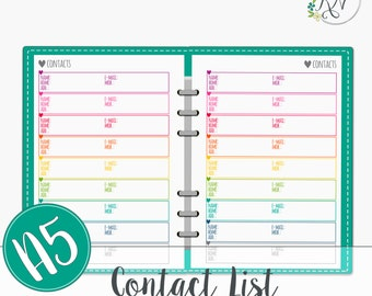 A5 Contact list Planner Printable Instant Download PDF