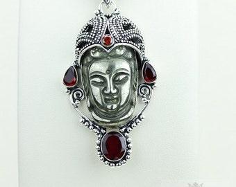 Ohh Yeah! Kwan Yin Guanyin BUDDHA Goddess Face Moon Face 925 S0LID Sterling Silver Pendant + 4MM Chain & Free Shipping p3759