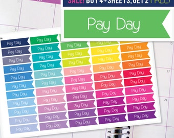 Pay Day Flag Planner Stickers To Be Used With Erin Condren LifePlanner (ECLP), Happy Planner - 55 Stickers  (#7026)