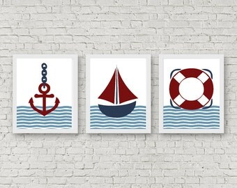 Nautical Printable Set Of 3 - Nursery /Boys Room Wall Art - Wall Decor - Anchor Print - Sailboat Art Print - Life Buoy /Preserver Poster
