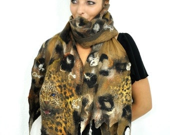 Leopard scarf /Wool and silk / Nuno felting scarf /  Handmade felted scarf / Merino wool / Nuno  felt shawl / Brown / Black