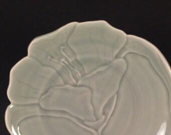 Carved jade celadon porcelain plate