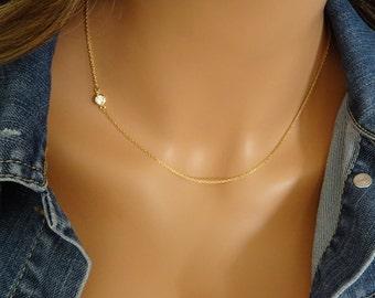 Sideways gold CZ Diamond Necklace, Vintage Round CZ pendant, Layering Necklace, Minimalist Jewelry, Gift for her