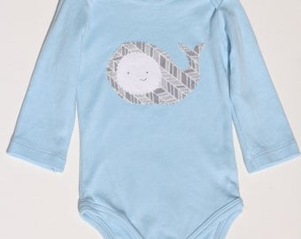 Organic Cotton Onesie Bodysuit Whale Grey Light Blue - boy