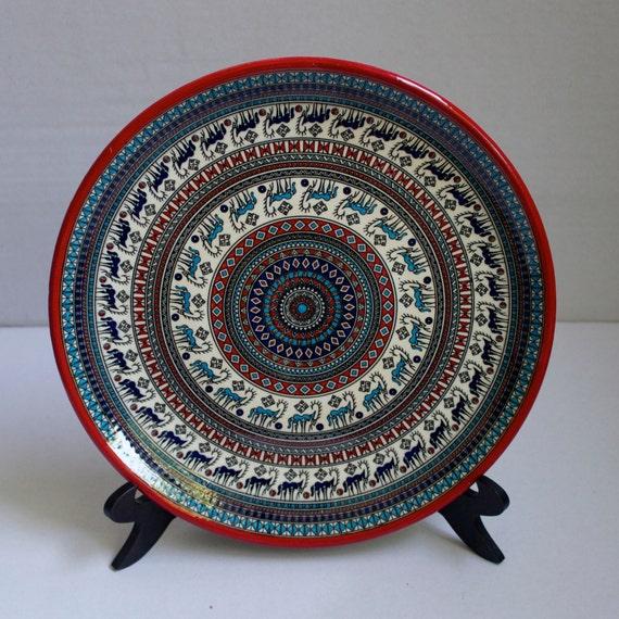 Hititte Design Hand Made Ceramic Plate, House Decoration, Decorative Wall Hanging Plate, Interior Art Deco , Ceramic Art, Antique Design