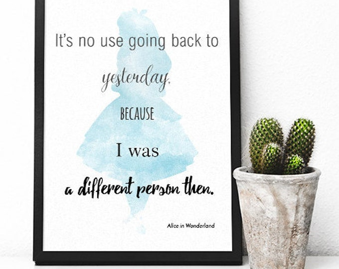 Alice in Wonderland Printable Poster / Printable Poster/ 50X70 Poster / Motivational Quote Poster / Quote Wall Art