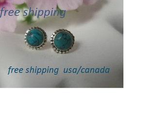 Turquoise silver stud earrings