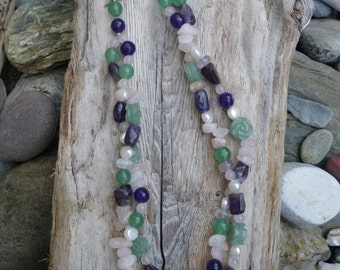 Spring Time  Double strand/twist gemstone necklace./Amethyst/Rose quartz/Green Aventurine