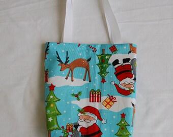 Christmas Fabric Gift Bag/ Secret Santa Bag/ Holiday Goody Bag- Santa on Blue