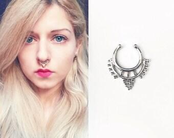 Faux nose ring Sadhana | Indian silver septum | Filigree boho piercing | Oriental fake nose piercing