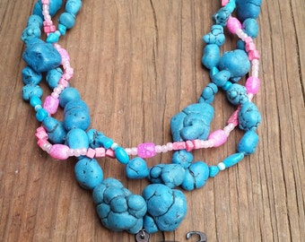 Pig Pink Blue 3 Strand Necklace
