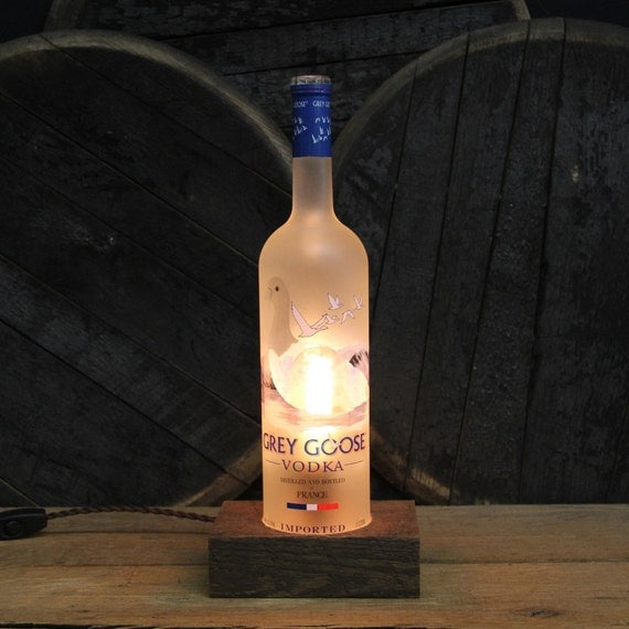 Grey Goose Vodka Bottle Lamp - Features Reclaimed Wood Base, Edison Bulb, Twisted Cloth Wire, In line Switch, And Plug, Upcycled Light