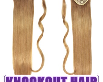 "Human Hair Ponytail Extension Wrap 20"" 80 Grams Remy Premium Grade AAAAA 100% Real Straight Hair Silky Soft (Dark Blonde #7B)"