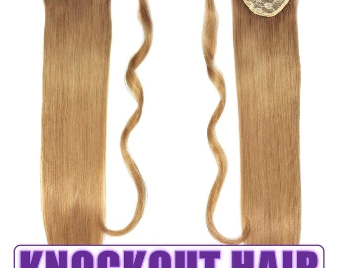 "Human Hair Ponytail Extension Wrap 20"" 80 Grams Remy Premium Grade AAAAA 100% Real Straight Hair Silky Soft (Dark Blonde #7B)"
