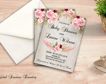 Roses Baby Shower Invite, Floral Baby Shower Invitation, Printable Boho Baby Shower Invite, Bohemian Baby Invitation, Digital Invitation