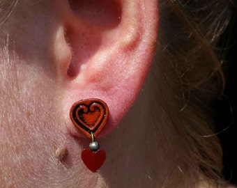 Love; leather earrings; heart jewelry; love jewelry; love earrings; hearts
