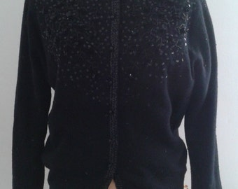 Vintage 1950's Black Beaded Lambswool Cardigan Sweater Sz Large Ladylike