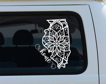 Illinois State Mandala Decal - Car Sticker - Mandala Decal - Mandala - Illinois - Car Decal - Illinois Decal - State Decals