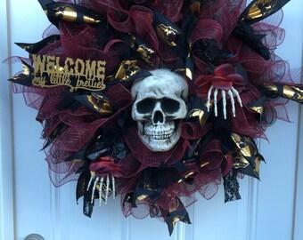 Halloween wreath, halloween front door wreath, skeleton wreath, halloween decorations, skull wreath, scary wreath, halloween wreath, wreath