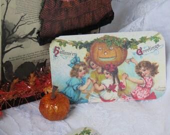 Set of 6 Victorian Halloween Gift Tags, Pumpkin, Vintage Halloween, Fall, antique Frances Brundage Postcard,