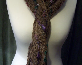 Shoormal; Shetland lace scarf hand knitted in 100% shetland wool, with detailing in recycled sari silk