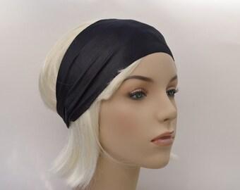 Wet Look Black Stretch Yoga Workout Headband
