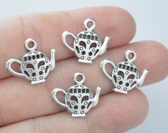 8 Pcs Small Teapot Charms Kettle Charms Antique Silver Tone 2 Sided 19x17mm - YD0019