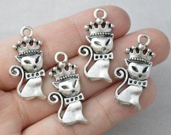 5 Pcs Cat Charms Kitten Pendants  Antique Silver Tone 32x13mm - YD0386