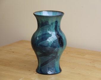 Green/black vase, blue interior