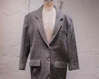 Vintage Houndstooth Wool Blazer 70s Menswear Inspired Women's Boxy Blazer L Large Size 14 Black & Tan Check Blazer
