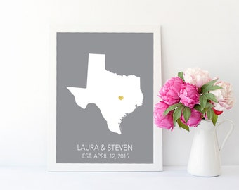 Personalized State Printable Wedding Printable Custom Wedding Wall Art Personalized Wedding Gift Anniversary Gift