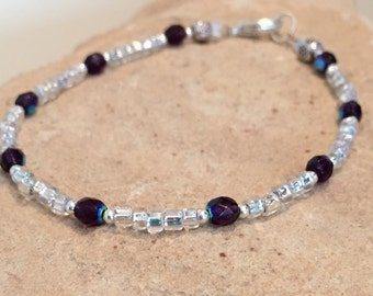 Purple bracelet, Tanzanite bead bracelet, gemstone bracelet, crystal seed bead bracelet, sterling silver bracelet boho bracelet gift for her