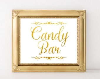 Gold wedding decor Candy bar sign Vintage wedding digital Candy buffet sign Wedding signage DIY wedding template Spring wedding signage