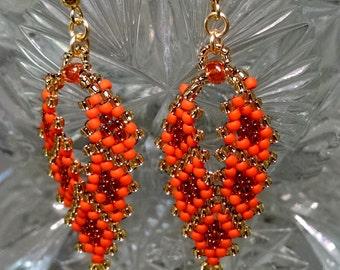 Dangle & Drop Earrings in Orange and Gold, Beaded Earrings, Seed Bead Earrings, Russian Leaf Earrings, Peyote Earrings