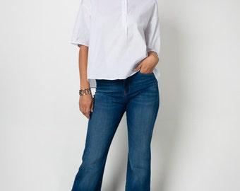 T30204 3/4 Short Batwing Dolman Sleeve Half Button Down Mandarin Collar Loose Fit Tunic Shirt Top (Made in USA)