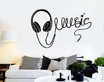 Wall Vinyl Music Headphones Earphones Cool Guaranteed Quality Decal Mural Art 1580dz