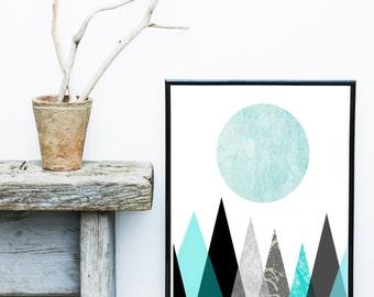 Blue Triangle Print, Printable Art, Mountain Print, Geometric Art, Minimalist Poster, Geometric Wall Art, Wall Decor, digital download