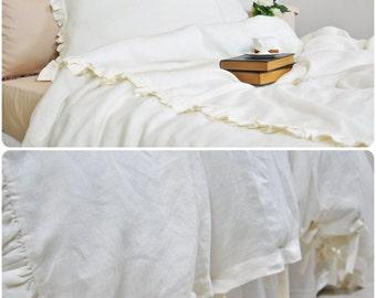 Ruffle Linen Duvet Cover in Full Queen King - Cream, Ecru, Off White - Pure Linen Bedding, Romantic, Shabby Chic Bedding