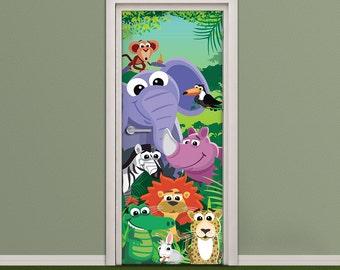 Kids Door Sticker   Vinyl Wallpaper   Adhesive Decal Wrap   Cute Cartoon  Animals In The