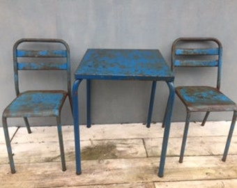 vintage french tolix metal cafe bistro table and chairs original NOW SOLD