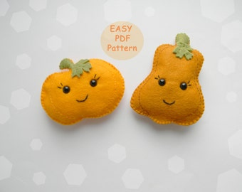 Easy PDF pattern Felt pumpkin ornament  Halloween Thanksgiving Autumn Felt Ornament Pattern Softie Pattern