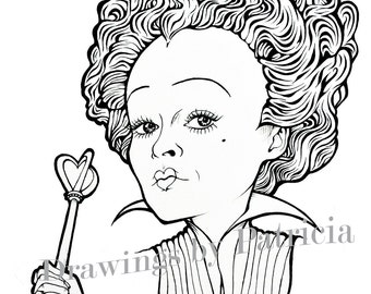 Red Queen illustration based on the film Alice in Wonderland by Tim Burton. Inmediat download, perfect for inmediat colouring.