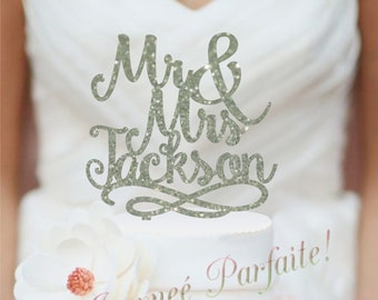 Script Mr and Mrs Last Name Wedding Cake Topper, Personalized with Last Name, Elegant Custom Script, Acrylic Cake Topper  [AJP24]