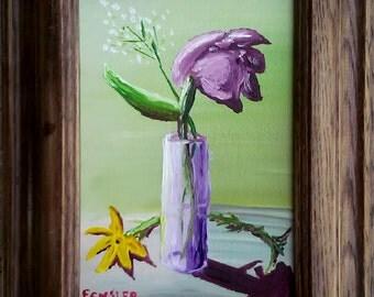 "ORIGINAL OIL, ""Purple Vase,"" Framed, 5 x 7"" Canvas Panel"