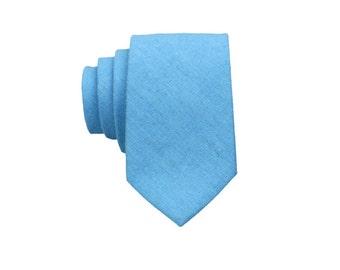 Turquoise Linen Ties.Mens Neckties.Turquoise Skinny Ties.Turquoise Wedding Tie