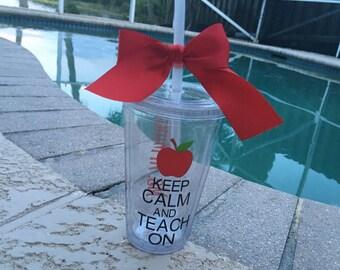 Personalized Teacher Tumbler, teacher, teacher gift, keep calm and teach on, professor, teacher appreciation
